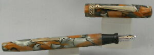 Orange & Silver Marble Celluloid & Gold Fountain Pen - 14kt Gold Nib - 1930's