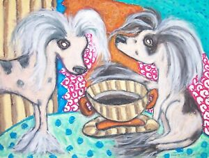 4 x 6 Art Print Chinese Crested drinking Coffee Dog Collectible by Artist KSams