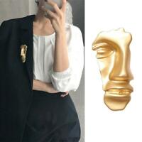 1Pc Lady Art Simple Vintage Abstract Face Mask Gold Brooches Pins