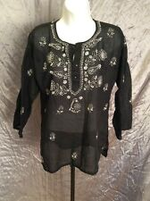Black Sheer Top White Floral 3/4 Sleeve Loose Gypsy Ethnic Boho Tunic Size S/M