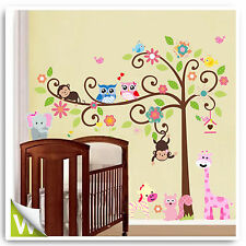 Owl Wall Stickers Animal Monkey Decor Jungle Zoo Tree Nursery Bedroom Decals Art