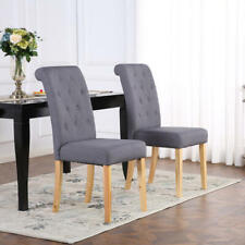 PREMIUM LINEN FABRIC DINING LIVING ROOM CHAIRS SCROLL HIGH BACK DARK GREY