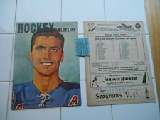 RARE Vintage 1959 NY Rangers NHL Hockey Blueline Mag Program Ticket Stub Detroit