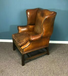 Worn Leather Chippendale Wingback Chair W/ Brass Tacks
