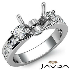 Round Diamond Classic 3 Stone Engagement Ring 14k White Gold Semi Mount 0.6Ct