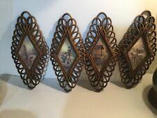 4 Burwood Diamond Shape Faux Loop Wicker Rattan Picture Country Print Homco 1350