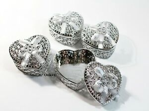 12 Silver Heart Baby Shower Favors Wedding Quinceanera Princess Fillable Sweet16