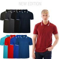 Mens Polo Shirt Short Sleeve Plain Tipping Collar Pique T Shirt Shirt Summer Top
