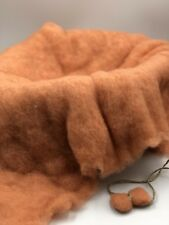 Peach Merino Wool Fluff Basket Blanket, Newborn Photo Basket Filler