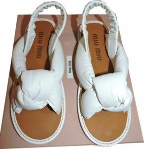 $780 Miu Miu - Prada Sandals Flat Knotted Leather Slingbacks Shoes Flats 39