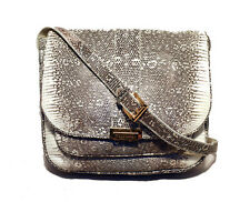 TRUSSARDI RARE Grey & White Ring Lizard Messenger Shoulder Bag