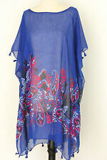 Summer Beach dress Bikini Cover up Kaftan Tunic Poncho Tassel Fringe Trim Blue