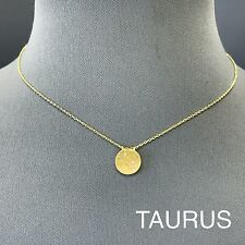Gold Finish Dainty Rhinestone Astrology Taurus Mystic Zodiac Pendant Necklace