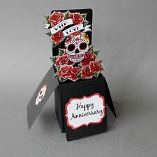Red Sugar Skull & Roses 3-D Pop Up Anniversary Card Tattoo Goth Rockabilly Candy