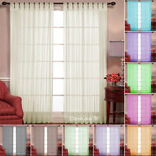 Sheer Tab Top Drape Mosquito Net Curtains for Windows Panels or Doors 10 Colours