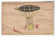 [51708] Old Postcard Grace Harlow Artist Signed Man In Airship