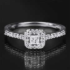 0.25 CT Carat Diamond Engagement RING Princess Cut 10k White Gold SIZE 5-9
