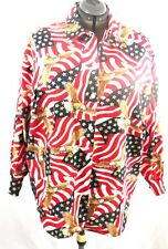 Village Fair Button Front Size  L/S 38-40 Red White Blue Flag Eagles Stars