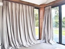 PINCH PLEAT PAIR GREY 100 Linen Blackout INTERLINED 2.32mDrop 1.40mWide CURTAINS