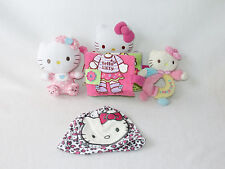 Sanrio Hello Kitty RARE Crinkle Baby Book Rattle Ty Plush Knit Leopard Hat LOT 4