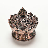 Red Copper Collectable Tibetan Lotus Figure Chinese Alloy Incense Burner CenserR