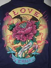 NWT ~ ED HARDY Audigier LOVE FLOWER GEM Rhinestone Kids Hoodie Girls sz 4/5