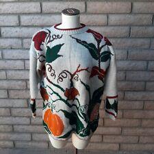 JJ Browne Sweater Womens Large Autumn Fall Orange Pumpkin Vine Mervyns Tags NOS
