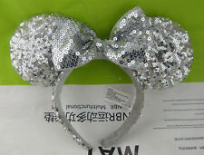 Cosplay Minnie Mouse Silver Bow Sequins Ear Headband Costume Party Hairband Gift