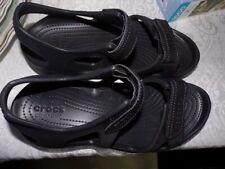 Women's Iconic Crocs sandals, 9M, NWOB, black, two adjustable straps