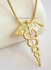 Gold Caduceus Necklace RN LPN MD Doctor Medical Nurse Graduation Gift Pendant