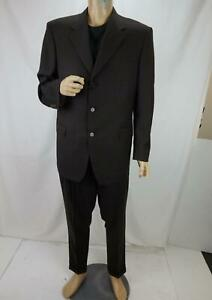 Canali Wool/Silk Blend 2-Piece Suit Made in Italy Dark Brown Men's Size 52