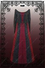 Steampunk Renaissance Halloween Floral Brocade Dress w/Attached Back Cape L