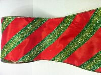 """CHRISTMAS GLITTERED RIBBON RED & GREEN STRIPPED 5"""" x 15' Deco Mesh Wreath"""