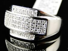 10K Mens White Gold Pinky Wedding Band Genuine Diamond Ring 1/2 Ct