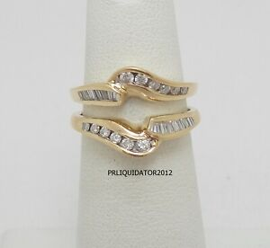 1/2CT Diamond Solitaire Enhancer Wrap Insert Jacket Ring Band 14K Yellow Gold