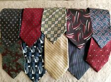 Lot Of 10 Mens' Neck Ties Assorted Brands Multi Color Geometric Patterns