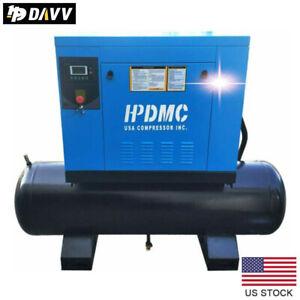 "10 HP 3 Phase Rotary Screw Air Compressor 230V with 40 Gallon Air Tank NPT1"""