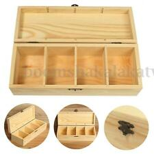 4 Compartments Wooden Tea Storage Box Container Organizer Jewelry Earring Case