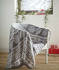 Fleece Blanket Alpine Grey Nordic Christmas Snowflake Theme Single Throw White