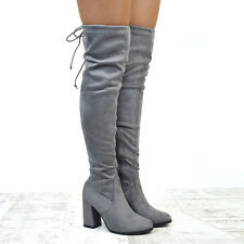 Womens Thigh High Stretch Calf Mid Heel Ladies Lace Up Over The Knee Long Boots