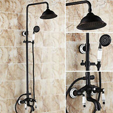 "Oil Rubbed Bronze Bathroom 8"" Rain Shower Faucet Bath Tub Mixer Tap W/Handheld"
