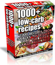 1000+ LOW-CARB RECIPES PDF EBOOK FREE SHIPPING RESALE RIGHTS