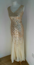 Godiva London rose gold graduated sequin full length dress gown 8 VGC