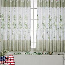 1 X Valances Tulle Bamboo Calico Door Window Curtain Drape Panel Scarf Divider