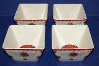 STUNNING 222 FIFTH SET OF 4 CONSTANTINA RED CHRISTMAS SQUARE APPETIZER BOWLS