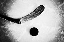 Framed Sports Print – NHL Ice Hockey Stick & Puck (Black & White Picture Art)