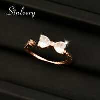 Lovely Crystal Bowknot Adjustable Rings For Women Rose White Gold Plated Jewelry