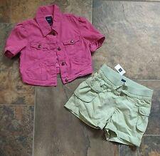 NWT Gap Kids Girls XL 12 Pink Cord Jacket Green Shorts