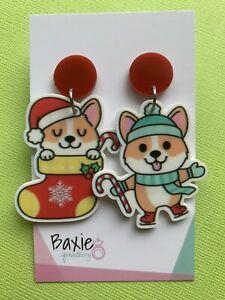 Christmas Dangle Earrings Mismatched Corgi Dog Xmas, Surgical Stud, Red Acrylic