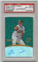 2001 Topps Fusion Autographs #FA5 A's Barry Zito PSA NM-MT 8 Graded Auto Card
